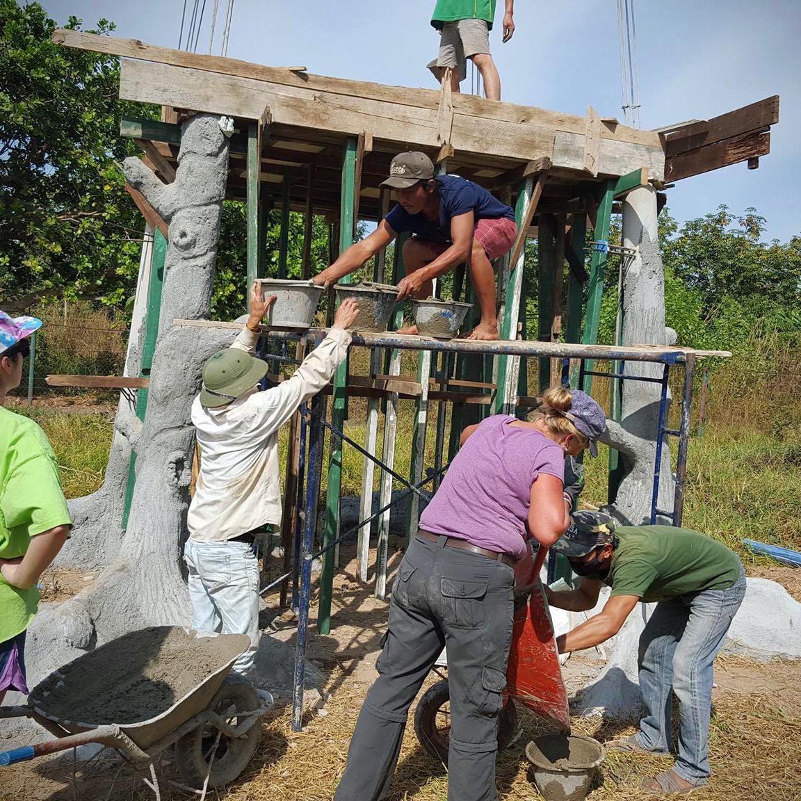 Construction volunteers